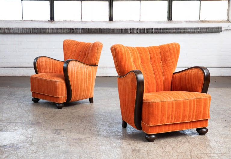 Scandinavian Modern Mogens Lassen Style Danish 1940s Lounge Chairs with Carved Wood Armrests For Sale