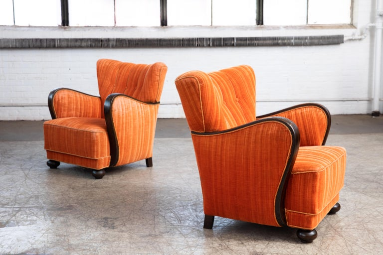 Mogens Lassen Style Danish 1940s Lounge Chairs with Carved Wood Armrests In Good Condition For Sale In Bridgeport, CT