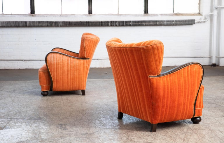 Mid-20th Century Mogens Lassen Style Danish 1940s Lounge Chairs with Carved Wood Armrests For Sale