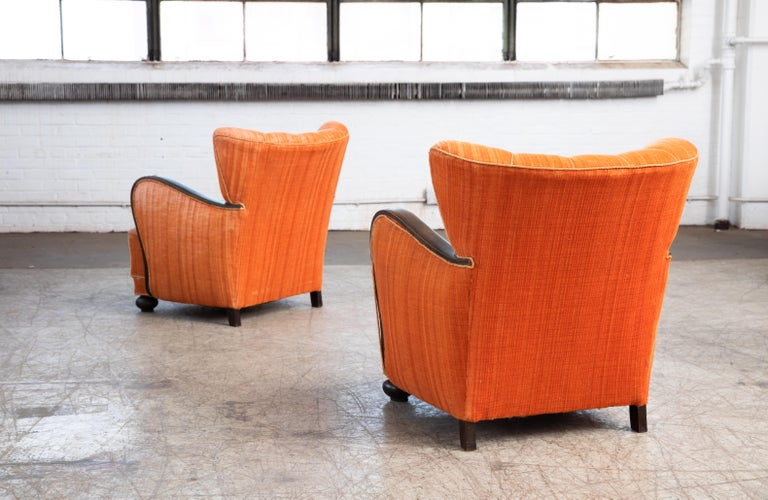 Beech Mogens Lassen Style Danish 1940s Lounge Chairs with Carved Wood Armrests For Sale