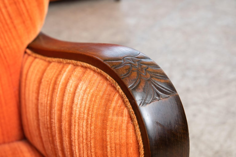Mogens Lassen Style Danish 1940s Lounge Chairs with Carved Wood Armrests For Sale 1
