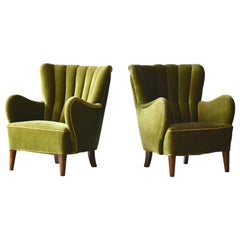 Mogens Lassen Style Danish 1940s Lounge or Club Chair in Green Mohair Fabric