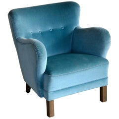 Mogens Lassen Style Danish 1940s Lounge or Club Chair in Mohair