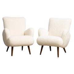 Mogens Lassen Style Danish 1950s Lounge Chairs in Newly Upholstered in Lambswool