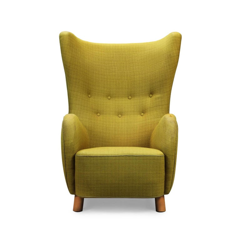 Mid-Century Modern Mogens Lassen Style High-Backed Lounge Chair, Armchair, 1940, Danish Furniture For Sale