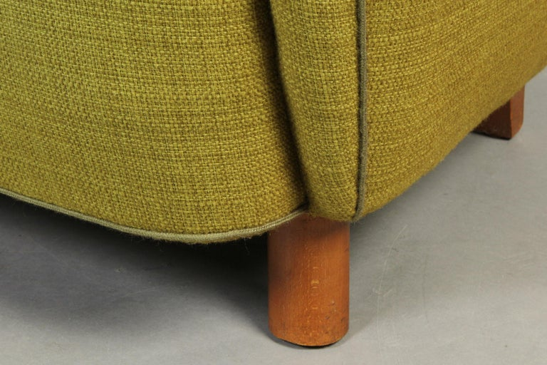 Beech Mogens Lassen Style High-Backed Lounge Chair, Armchair, 1940, Danish Furniture For Sale