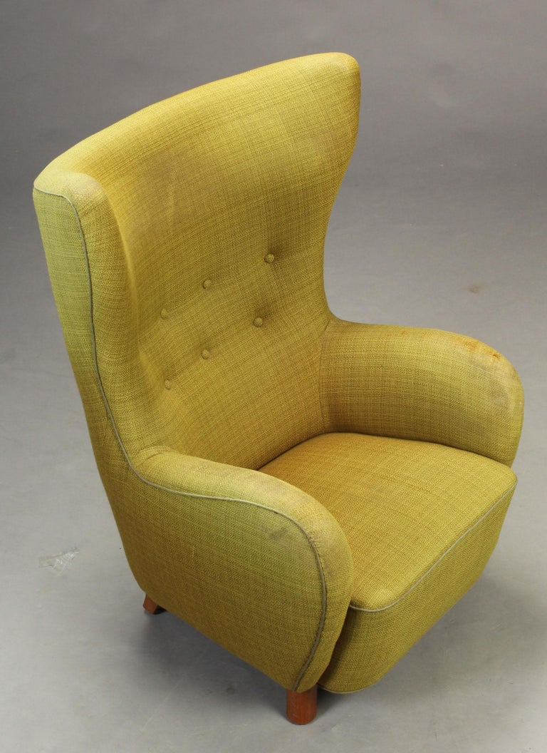 Mogens Lassen Style High-Backed Lounge Chair, Armchair, 1940, Danish Furniture For Sale 1