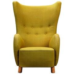 Mogens Lassen Style High-Backed Lounge Chair, Armchair, 1940, Danish Furniture