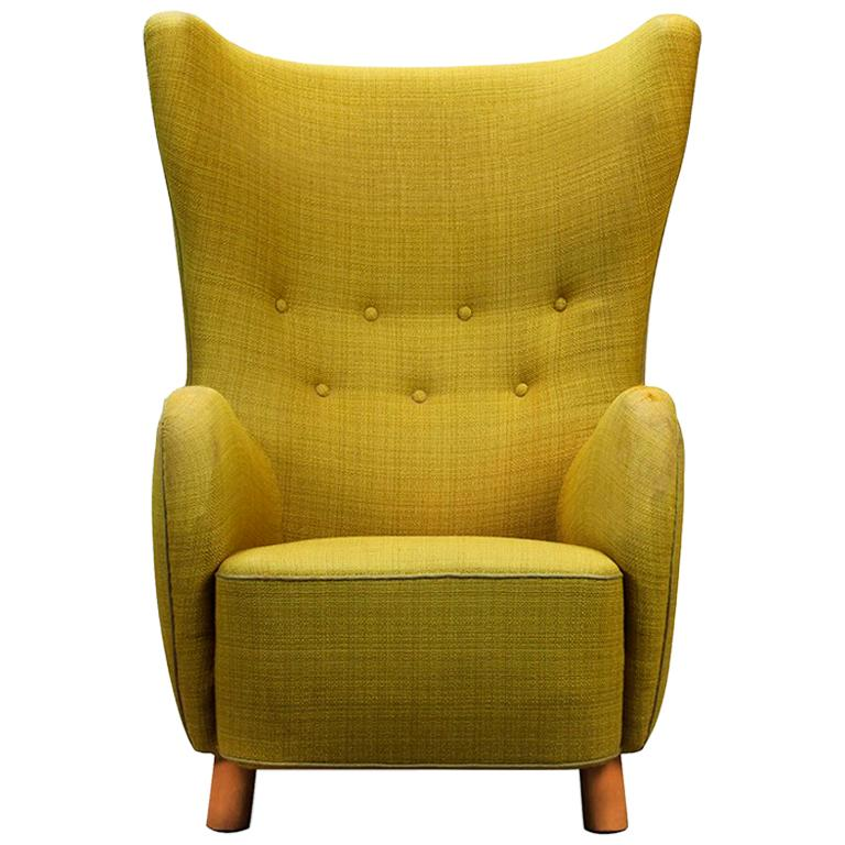 Mogens Lassen Style High-Backed Lounge Chair, Armchair, 1940, Danish Furniture For Sale