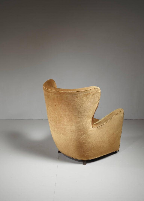 Danish Mogens Lassen 'Style' Lounge Chair with Velour Upholstery, Denmark, 1940s For Sale