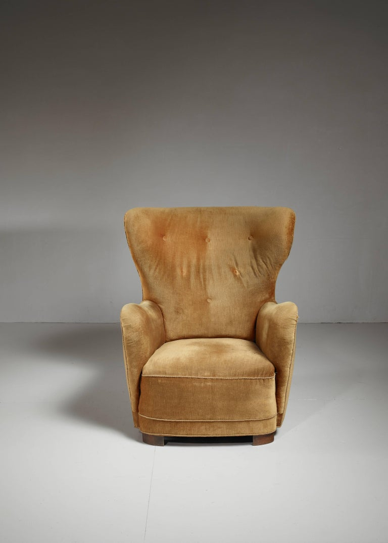 Stained Mogens Lassen 'Style' Lounge Chair with Velour Upholstery, Denmark, 1940s For Sale