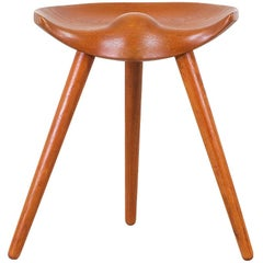 Mogens Lassen Tri-Legged Teak Stool for K. Thomsen