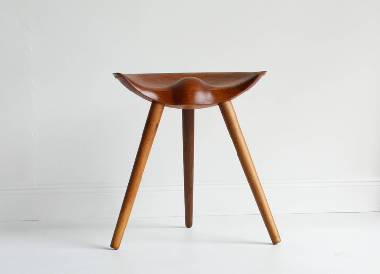 Scandinavian Modern Mogens Lassen, wood stool, elm, oak, K. Thomsen, Denmark, 1942 For Sale
