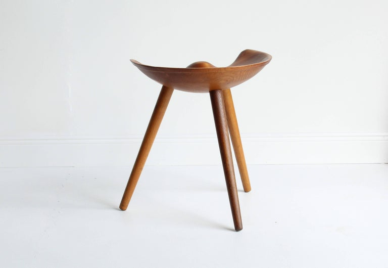 Danish Mogens Lassen, wood stool, elm, oak, K. Thomsen, Denmark, 1942 For Sale
