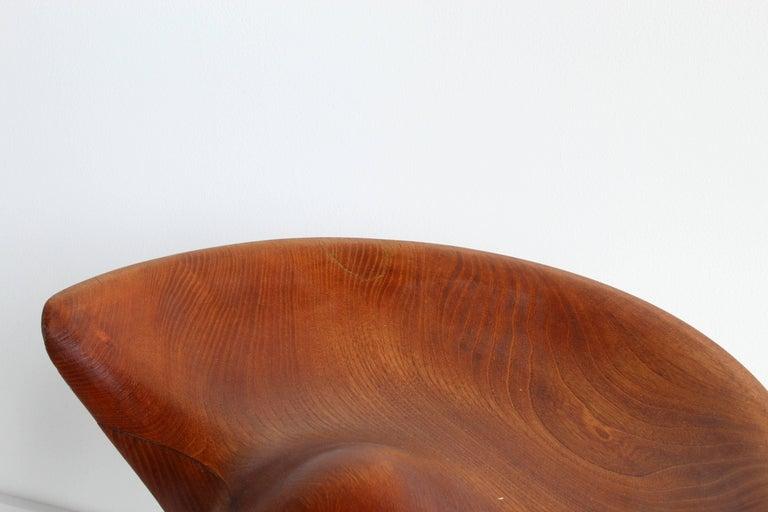Mogens Lassen, wood stool, elm, oak, K. Thomsen, Denmark, 1942 In Fair Condition For Sale In West Palm Beach, FL