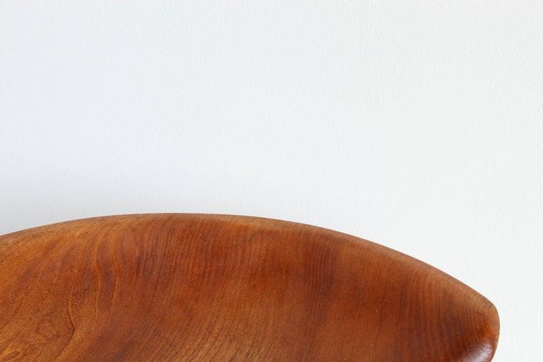 Mid-20th Century Mogens Lassen, wood stool, elm, oak, K. Thomsen, Denmark, 1942 For Sale
