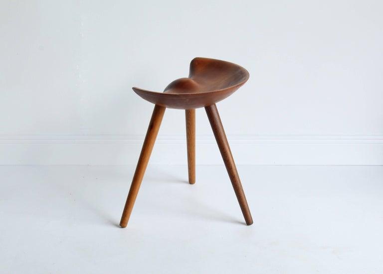 Mogens Lassen, wood stool, elm, oak, K. Thomsen, Denmark, 1942 For Sale 1
