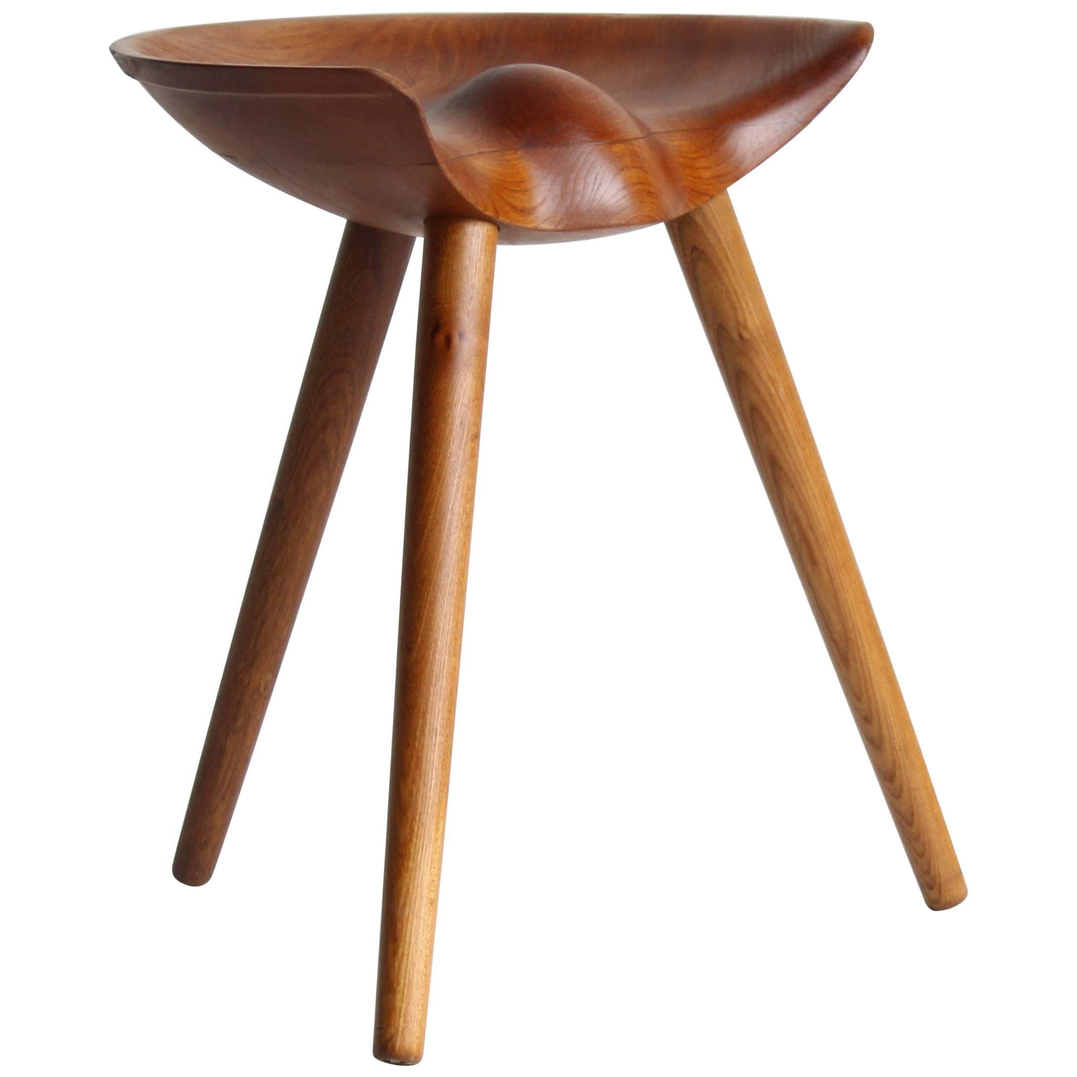 Mogens Lassen, wood stool, elm, oak, K. Thomsen, Denmark, 1942