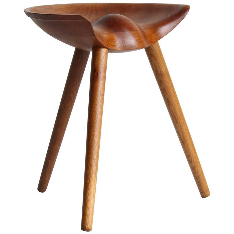Mogens Lassen, wood stool, elm, oak, K. Thomsen, Denmark, 1942 For Sale