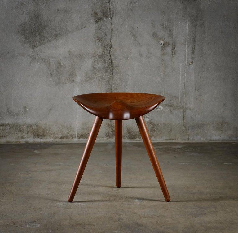 Mogens Lassen for K. Thomsen carved teak stool, Denmark, 1942.  Signed with paper manufacturer's label to underside: [K. Thomsen Snedkermester Bredgade 36- Kbh. K. Telf. Pala: 2554].