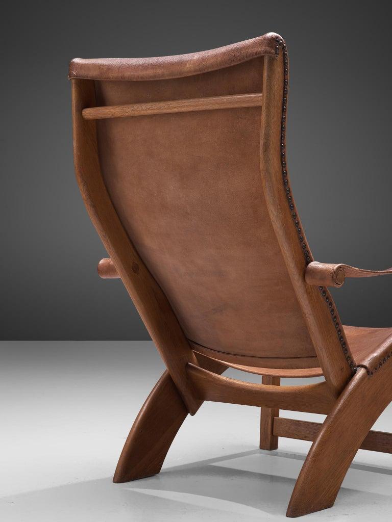 Scandinavian Modern Mogens Voltelen 'Copenhagen Chair' in Original Leather and Lisa Johansson Lamp