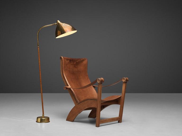 Scandinavian Mogens Voltelen 'Copenhagen Chair' in Original Leather and Lisa Johansson Lamp