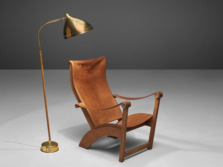 Brass Mogens Voltelen 'Copenhagen Chair' in Original Leather and Lisa Johansson Lamp