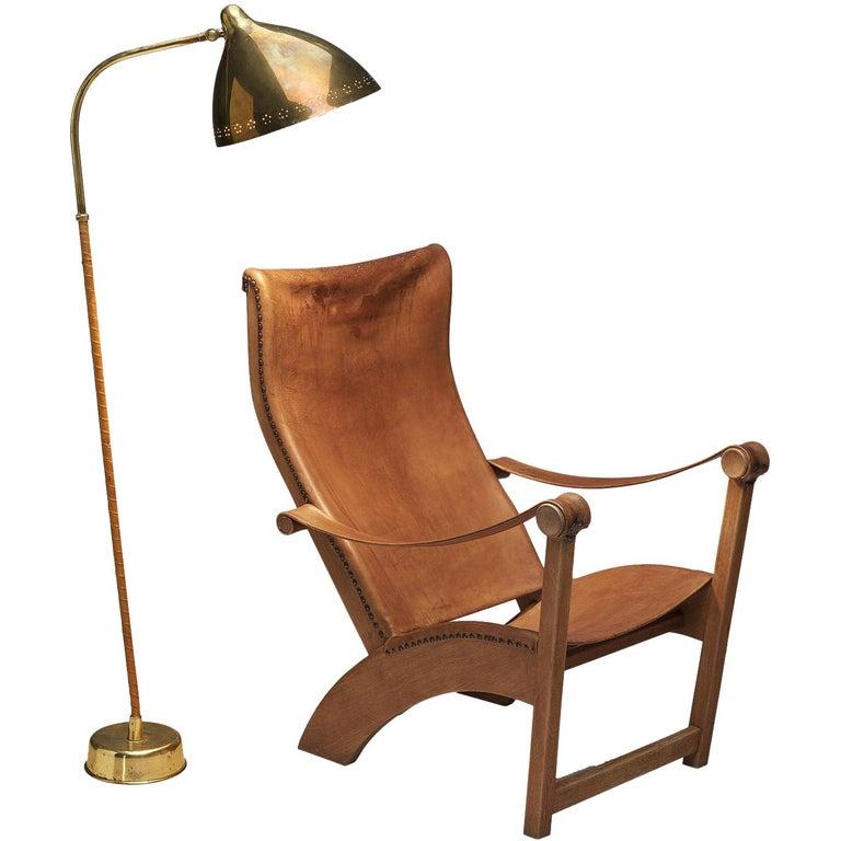 Mogens Voltelen 'Copenhagen Chair' in Original Leather and Lisa Johansson Lamp
