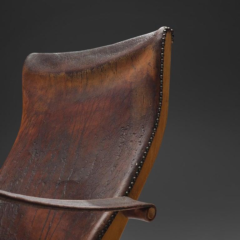 Mogens Voltelen for Niels Vodder 'Copenhagen Chair' in Original Leather In Good Condition For Sale In Waalwijk, NL
