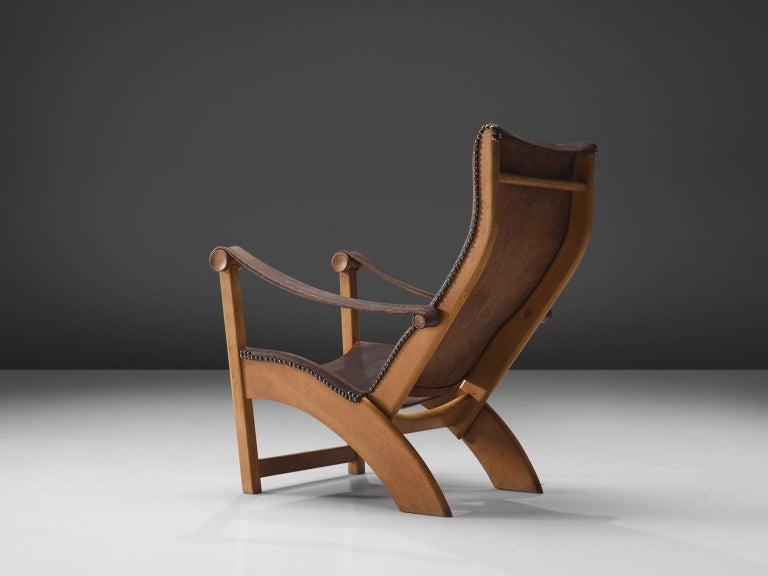 Mid-20th Century Mogens Voltelen for Niels Vodder 'Copenhagen Chair' in Original Leather For Sale