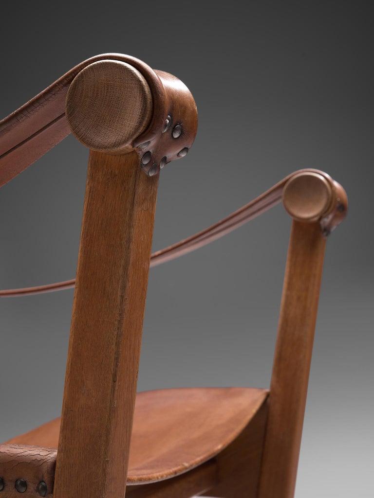 Leather Mogens Voltelen for Niels Vodder Original Patinated 'Copenhagen Chair' For Sale