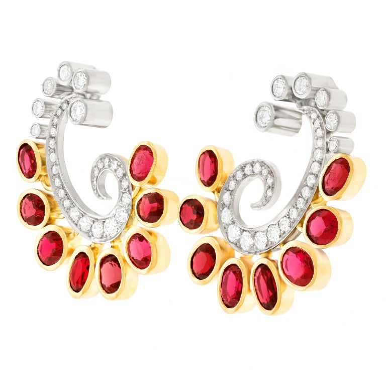 Mogul Aesthetic Garnet and Diamond Earrings In Excellent Condition For Sale In Litchfield, CT