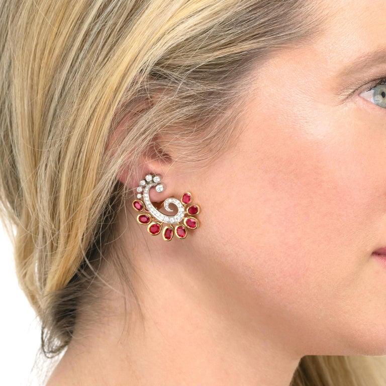 Women's Mogul Aesthetic Garnet and Diamond Earrings For Sale