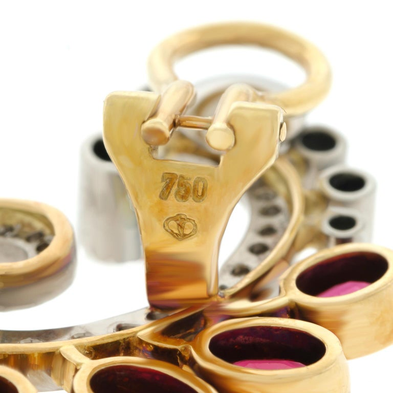 Mogul Aesthetic Garnet and Diamond Earrings For Sale 1