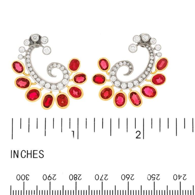 Mogul Aesthetic Garnet and Diamond Earrings For Sale 2