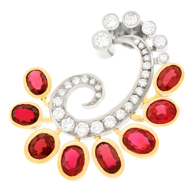 Mogul Aesthetic Garnet and Diamond Earrings For Sale 3