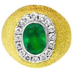Mogul Style 2.50 Carat Emerald and Diamond Ring in Yellow Gold