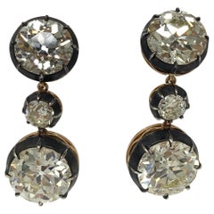 23.59 Carat Old European Cut Diamond Three in One Earrings