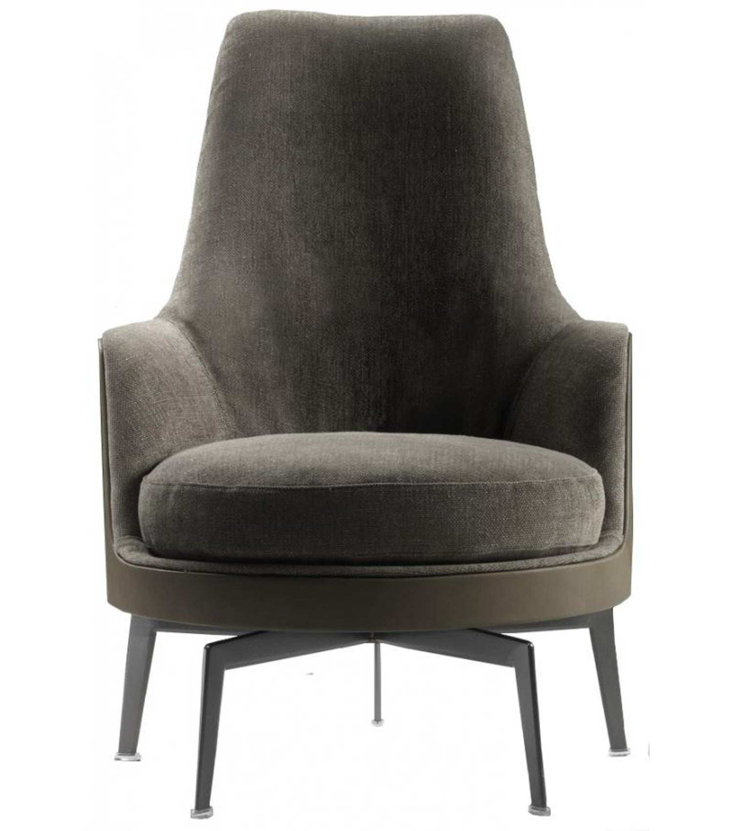Mohair And Leather With Bronzed Base Guscioalto Soft Armchair By