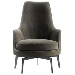 Mohair and Leather with Bronzed Base Guscioalto Soft Armchair by Flexform