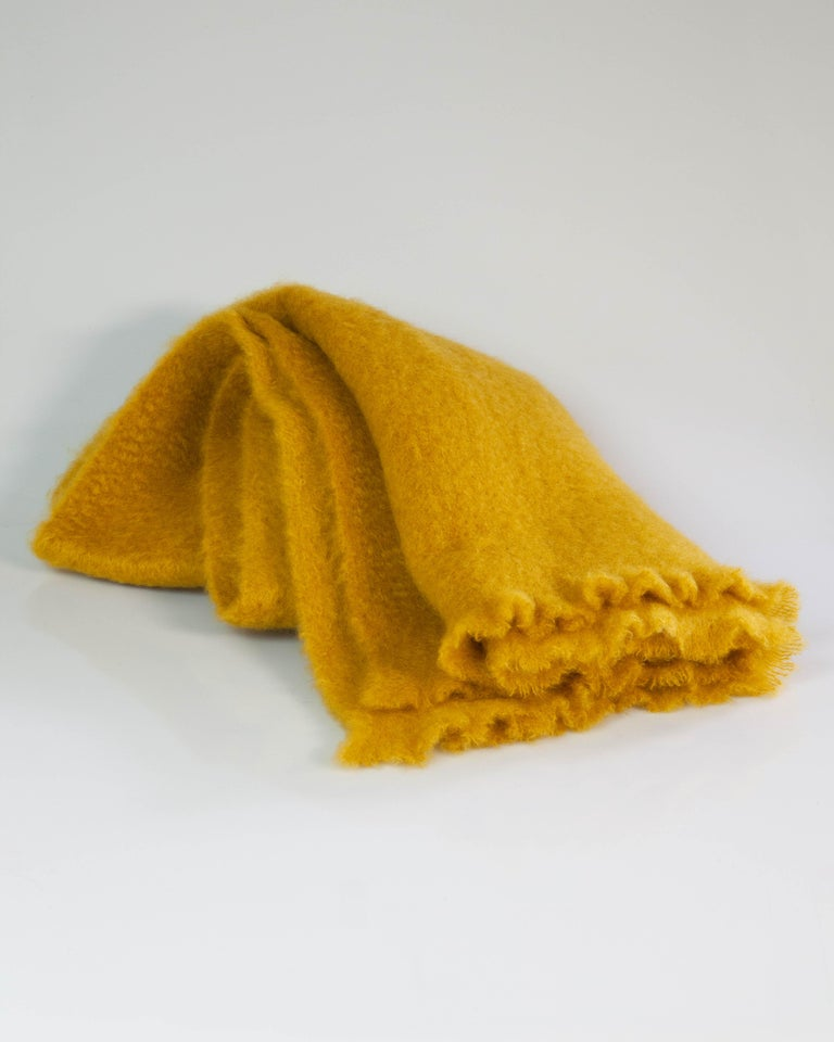 Spanish Mohair Blanket in Saffron Yellow, in Stock For Sale