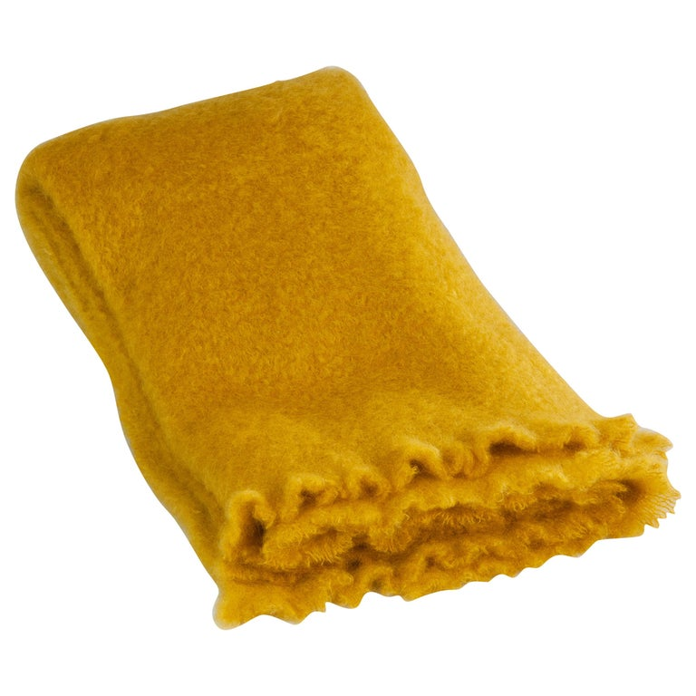 Mohair Blanket in Saffron Yellow, in Stock For Sale