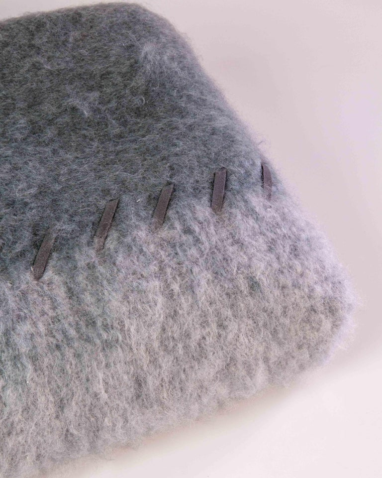 Spanish Mohair Blanket with Suede Stitching in Light and Dark Grey, in Stock For Sale