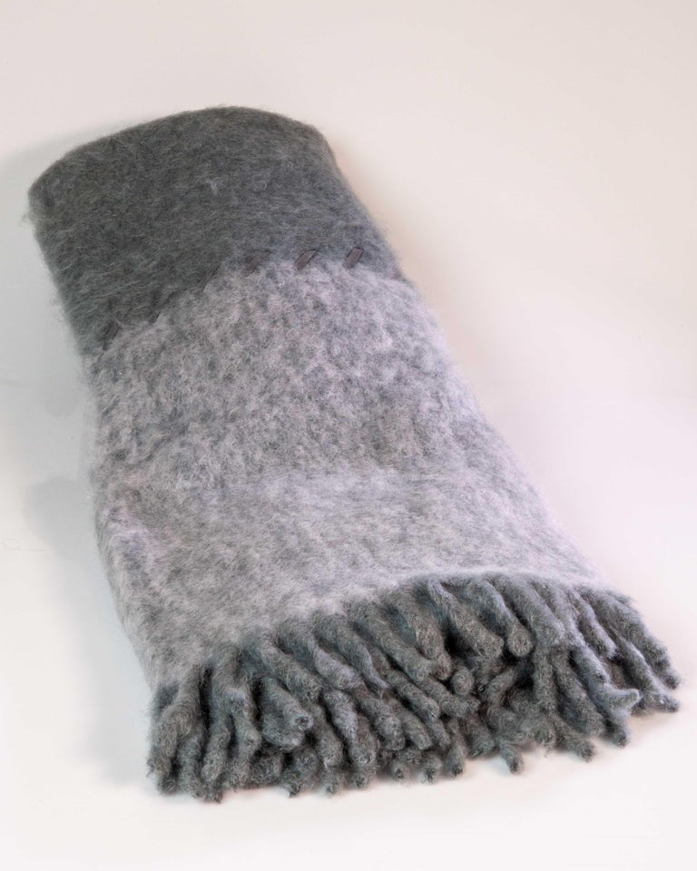 Hand-Woven Mohair Blanket with Suede Stitching in Light and Dark Grey, in Stock For Sale