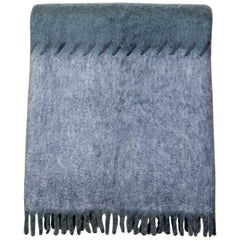 Mohair Blanket with Suede Stitching in Light and Dark Grey, in Stock