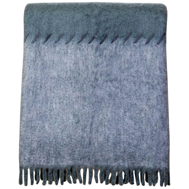 Mohair Blanket with Suede Stitching in Light and Dark Grey, in Stock For Sale