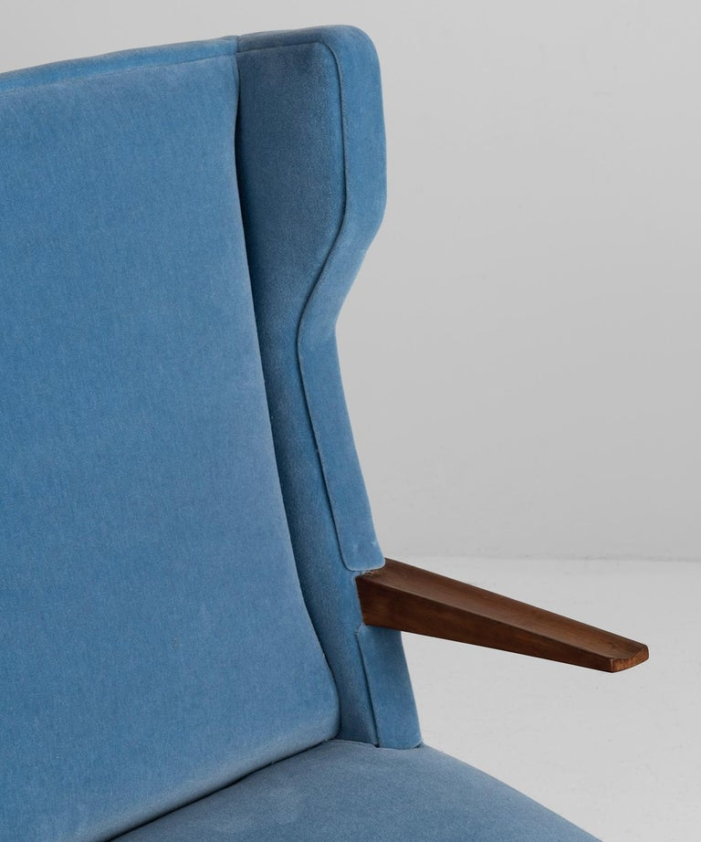 20th Century Mohair Modern Wingchairs For Sale