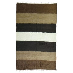 Mohair Modernist Black Ivory Brown Color Turkish Contemporary Rug