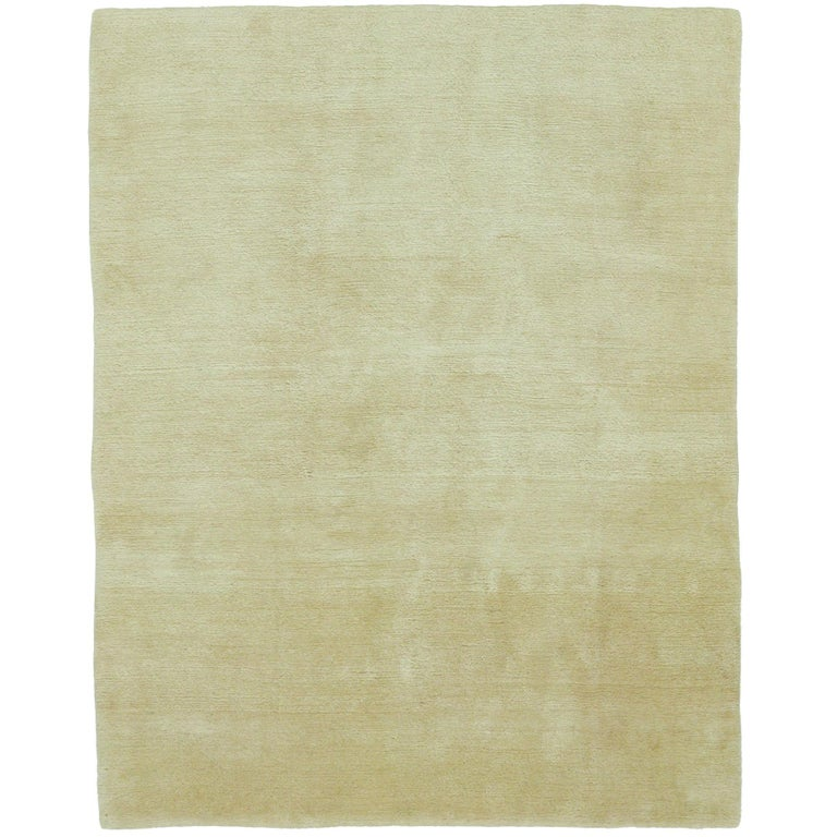 Mohair Natural Hand-Knotted 10x8 Rug in Wool by The Rug Company For Sale