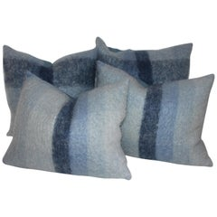 Mohair or Lambs Wool Blue Pillows Set of Four